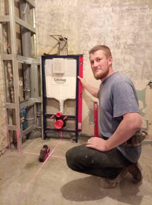 Инсталляция сантехники Grohe в санузле